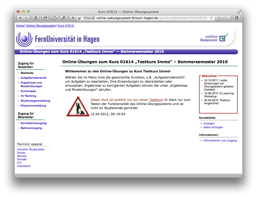 Designvorlagen für Kurse im Online-Übungssystem